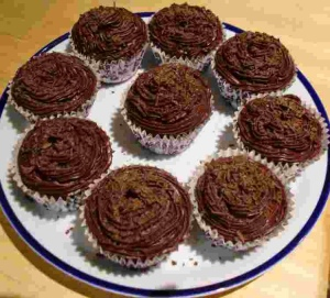 Plate of chocolate cup cakes