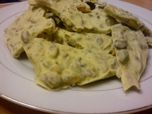 Pistachio bark on plate