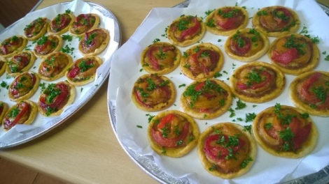 Finished roasted pepper tartlets