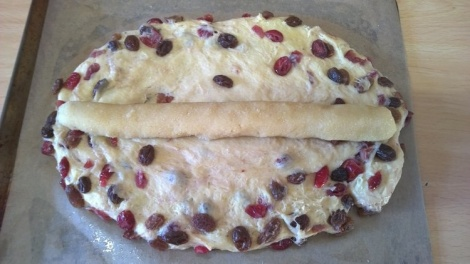 Stollen with almond paste in the middle