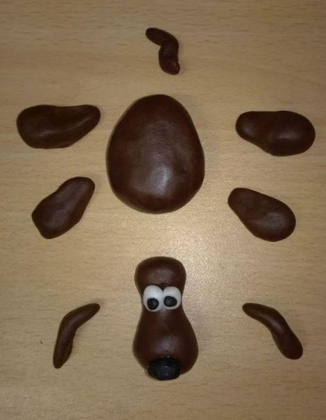 Fondant dog parts
