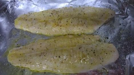Seasoned fish on foil
