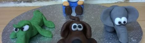 Man and animals made of fondant