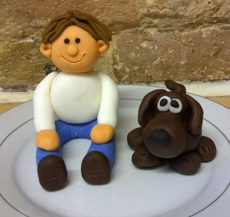 Fondant man and dog