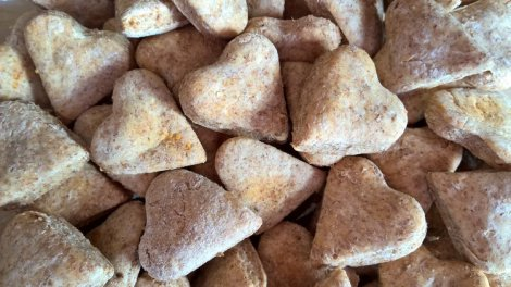 Heart shaped dog biscuits