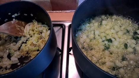 Leeks and potatoes being sauteed