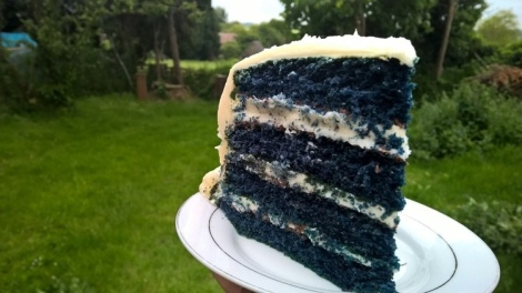 Slice of blue chocolate cake