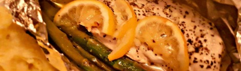 Chicken asparagus and lemon in foil